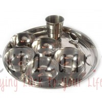 A set of dishes for offering of food from stainless steel, 8 items, Steel Bhoga Set 8 items